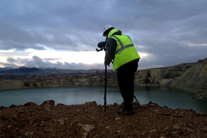 Mark Mariano does daily waterfowl observations rounds at the Berkeley Pit during migration season. October 2018.
