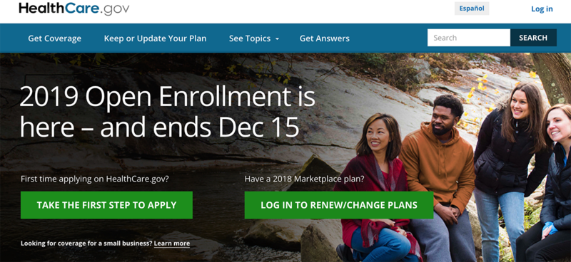 healthcare.gov website, 11/2/18
