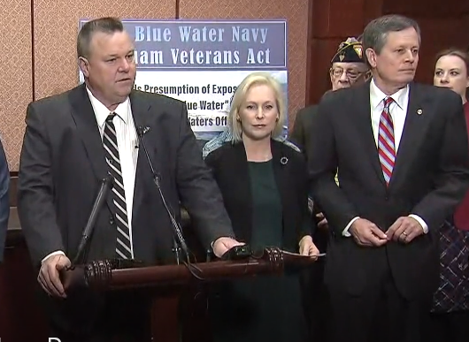 Montana Senators Jon Tester and Steve Daines, with New York Senator Kirsten Gillibrand at a press conference Tuesday.