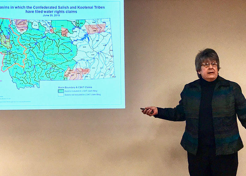 "Kate Vandemoer presents on the ""People's Compact,"" a proposed alternative to the CSKT Water Compact in Kalispell on Dec. 10, 2018."