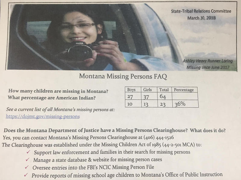 This handout was given to the State-Tribal Relations Committee, March 30, 2018. Annita Lucchesi, a doctoral student at Lethbridge University, in the Canadian province of Alberta, says native women make up 30 percent of missing persons in the state.