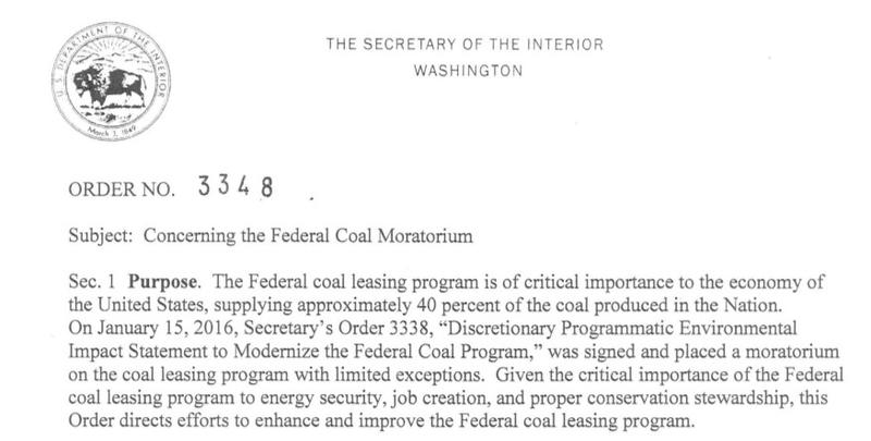 The 2017 order by Secretary of the Interior Ryan Zinke that lifted the Obama-era moratorium on federal coal leasing.