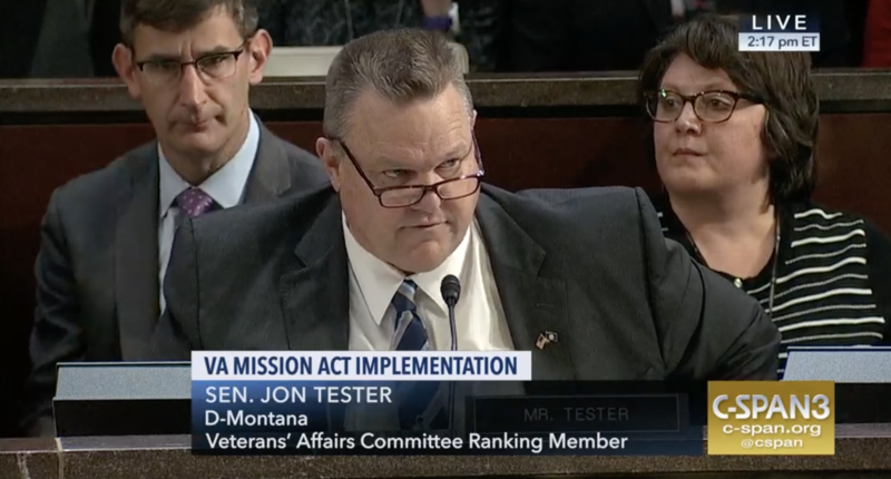 Senator Jon Tester speaks at a joint hearing of the House and Senate veterans committees on Wednesday. Dec. 19, 2018.
