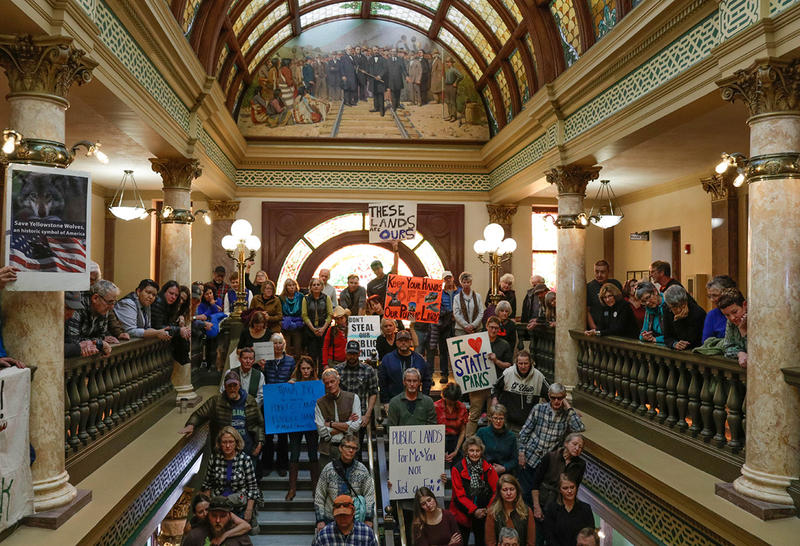 Hundreds of people fill Montana's Capitol Friday to show support for public lands. Overflow crowds occupied stairways and even reached to the fourth floor of the building on Jan. 11, 2019.