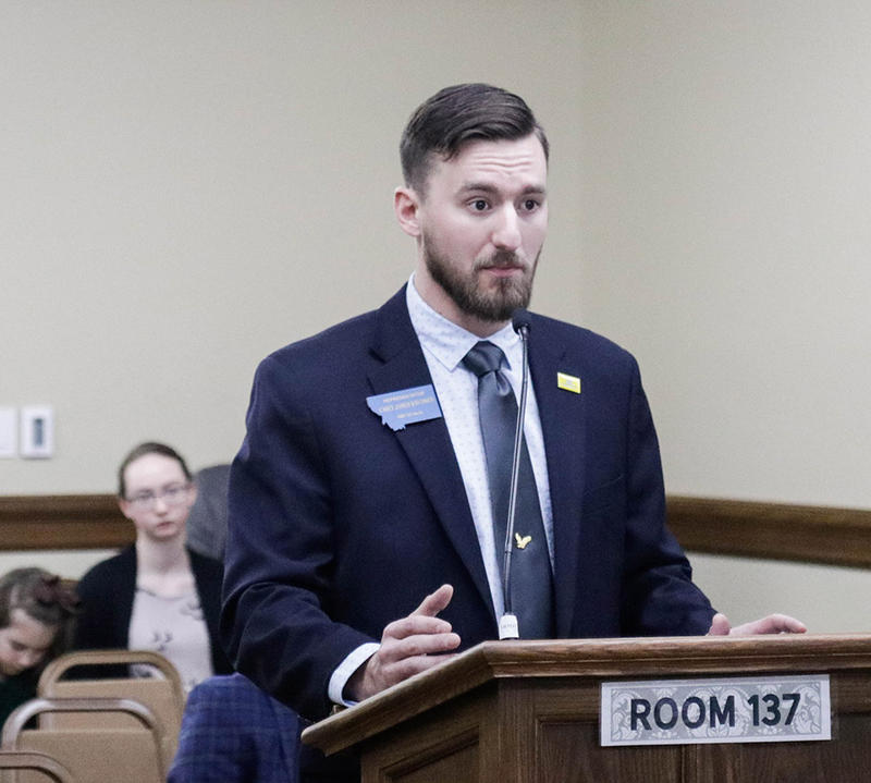 Rep. Casey Knudsen, R-Malta, presents his bill to repeal the ban on switchblades in a House Judiciary Committee hearing on Jan. 21, 2019.