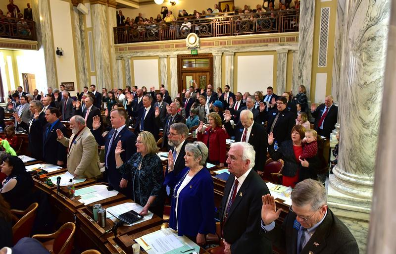 Members of the Montana House of Representatives are sworn in to the 2019 legislative session Monday, Jan. 7, 2019.