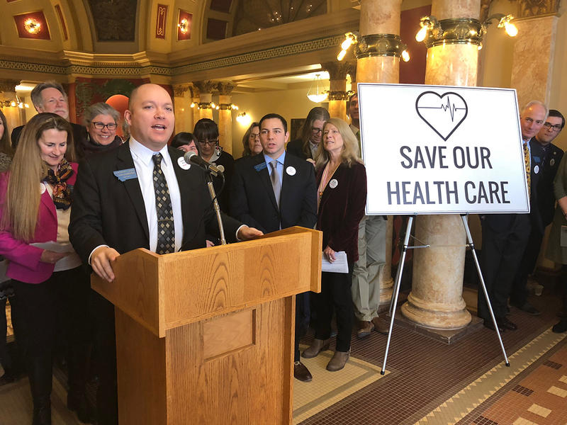 Democratic House Minority Leader Casey Schreiner announced the party's bill to continue Medicaid expansion in Montana, Jan. 10, 2019.
