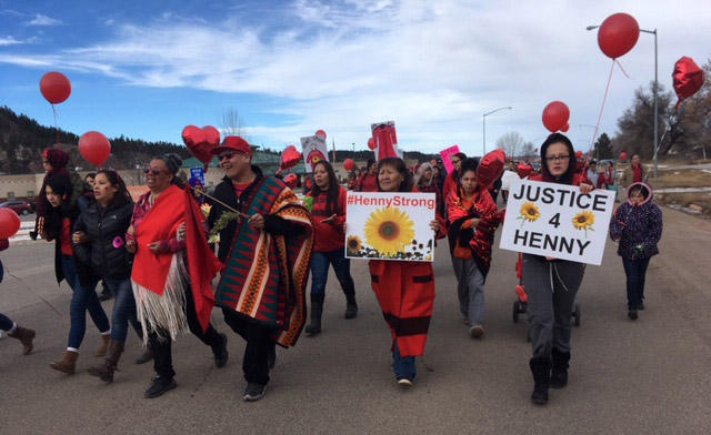 Marchers in Lame Deer on the Northern Cheyenne Reservation in southeastern Montana, January 9, 2018.