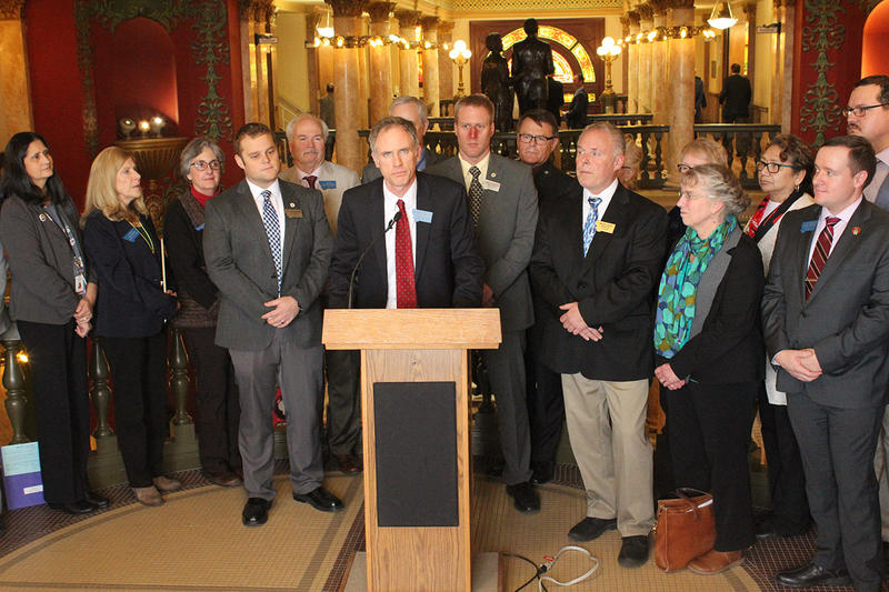 Sen. Nate McConnell announces the Firefighters Protection Act. The bill would allow current or former firefighters to file for health coverage or wage protection if they're  diagnosed with one of more than dozen diseases. Jan. 29, 2019.