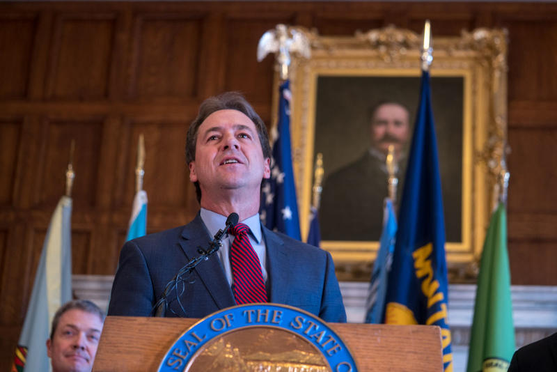 Gov. Steve Bullock making a statement on Tuesday about the benefits of Montana's Medicaid expansion program for Montana businesses. Jan. 8, 2019.