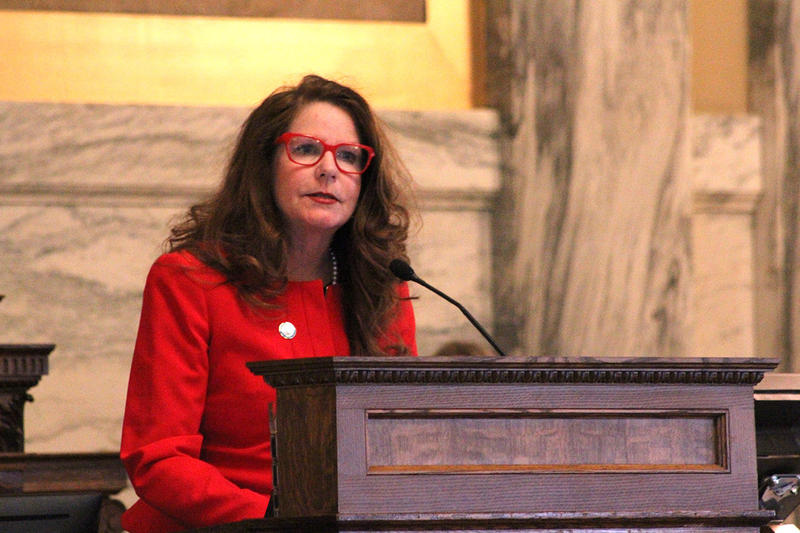 Office of Public Instruction Superintendent Elsie Arntzen delivers the 2019 State of Education Address at the Montana Capitol, Feb. 11, 2019.