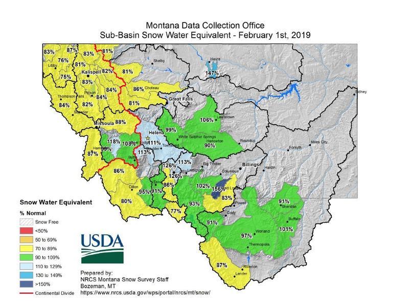 Sub-basin snow water equivalent - Feb. 1, 2019.