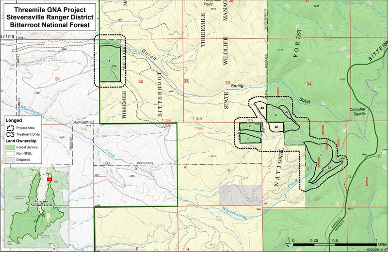 A map showing the proposed project management areas outside of Stevensville.
