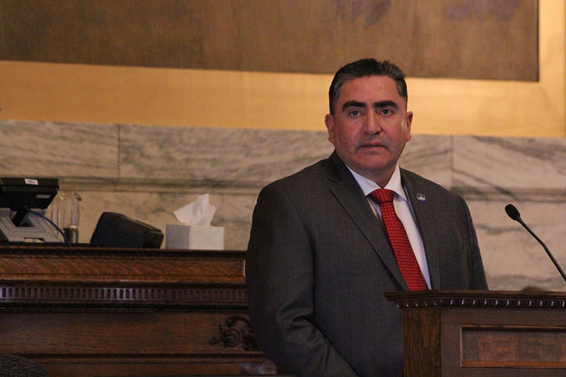 The President of the Fort Belknap Assiniboine (Nakoda) and Gros Ventre (Aaniiih) Tribes Andrew Werk Jr. delivered the State of Tribal Nations Address, in the House chamber on Thurs., Feb. 7. 2019.