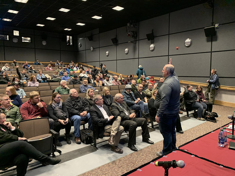 Scott Rogers of Bozeman-based Environmental Solutions releasing his findings of no asbestos-related health hazards in McGill Hall on the University of Montana's campus on Feb. 7, 2019.