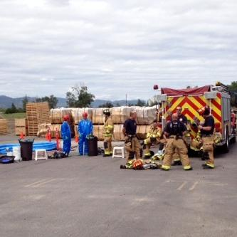 Missoula haz mat team at site of acid spill at Spectrum Products