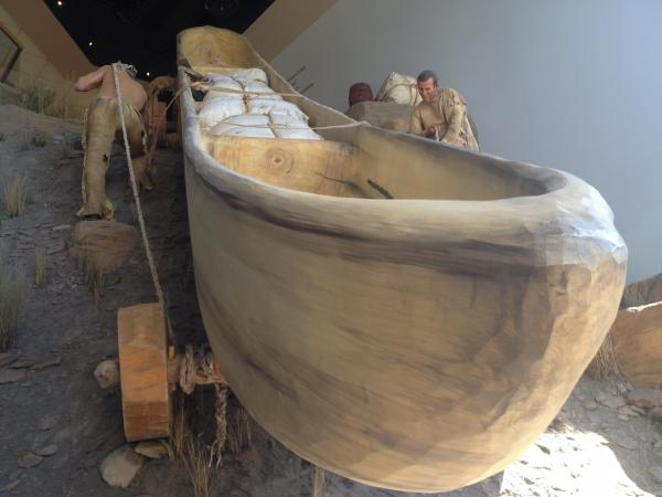 A life-size replica of the dugout canoes used by the Corps of Discovery is the centerpiece of the Lewis and Clark Interpretive Center in Great Falls