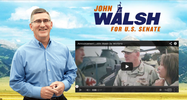 A screenshot taken from Lt. Gov. John Walsh's Senate campaign website.