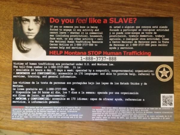Human trafficking poster to be displayed at Montana rest areas.