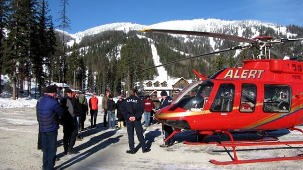 ALERT Helicopter from Kalispell Regional Medical Center comes to meet with ski patrol during training at Whitefish Mountain Resort.