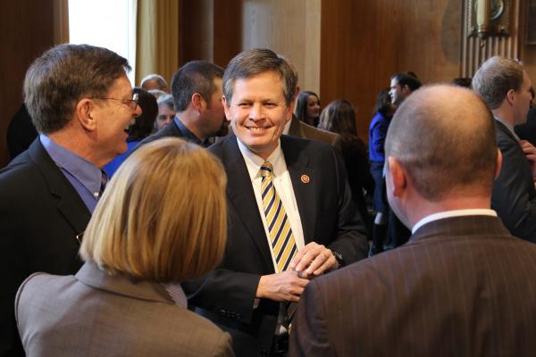 "Rep. Steve Daines (R-Mont.) speaks with visiting Montanans at a weekly ""coffee with constituents"" event in Washington D.C. last week."