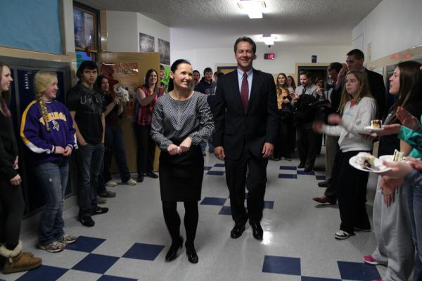 McLean and Gov. Steve Bullock leaving Anaconda High School to cheers on McLean's last day as a teacher there.