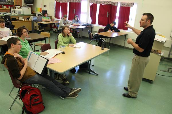 Helena High teacher Ryan Schulte conducts his AP American History  class on Tuesday.