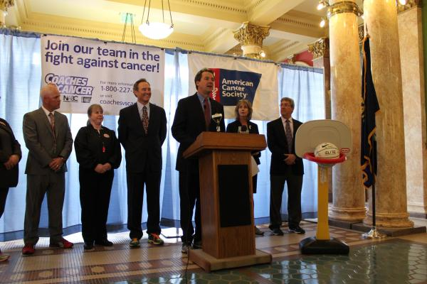 Gov. Steve Bullock (D-MT) announces the American Cancer Society's Suits and Sneakers Challenge from the capitol rotunda Tuesday