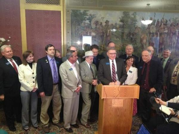 "The moderate GOP lawmakers calling themselves ""Responsible Republicans"" gather for a press conference following the 2013 Montana Legislative Session."