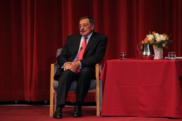 Leon Panetta on stage of Dennison theater