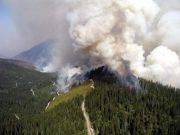 Forest fires in Glacier National Park in 2003