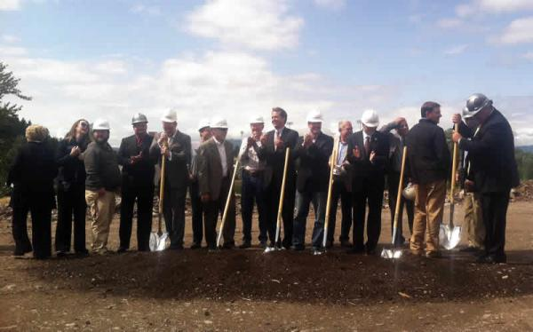 Montana dignitaries gathered just offshore of the Clark Fork River to officially break ground on construction of the Missoula College's new site on Friday, August 22, 2014.
