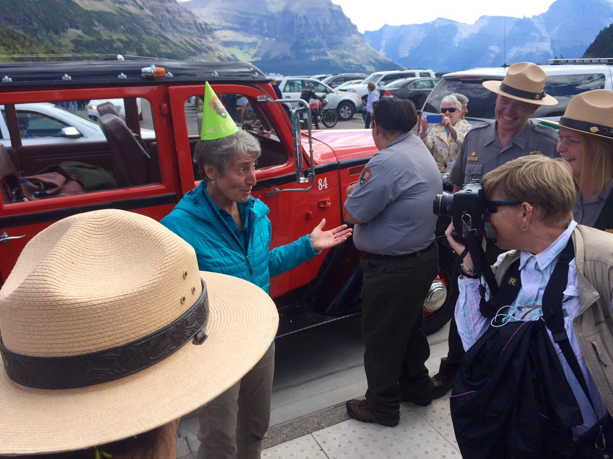 Secretetary Of Interior Sally Jewell Visited Glacier National Park Today To Celebrate The 100th Birthday Service