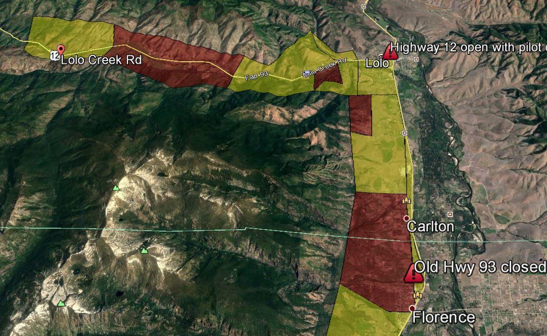 Peak Fire Map.Lolo Peak Fire Evac Update Mtpr