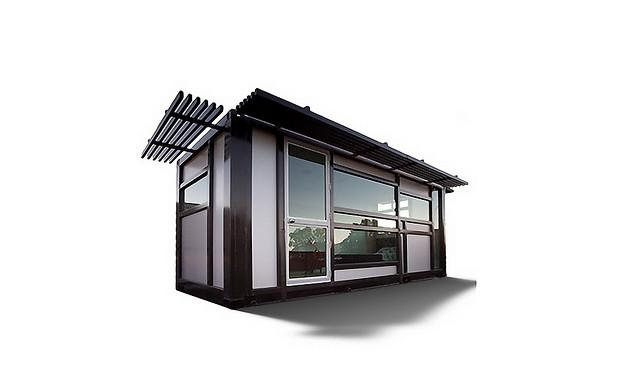 Prefabricated from a shipping container - see more at onecoolhabitat.com