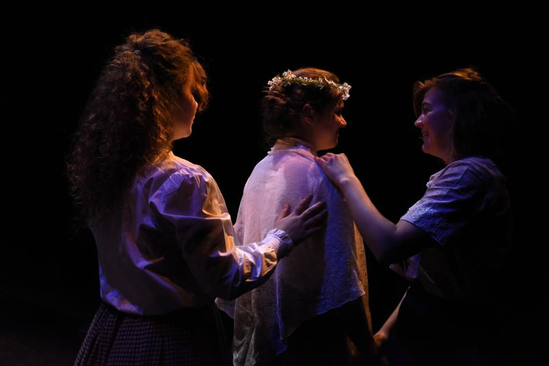 The bridal party scene. (L to R) Kayla Peters, Rebekah Meyer, Lauren Schulke