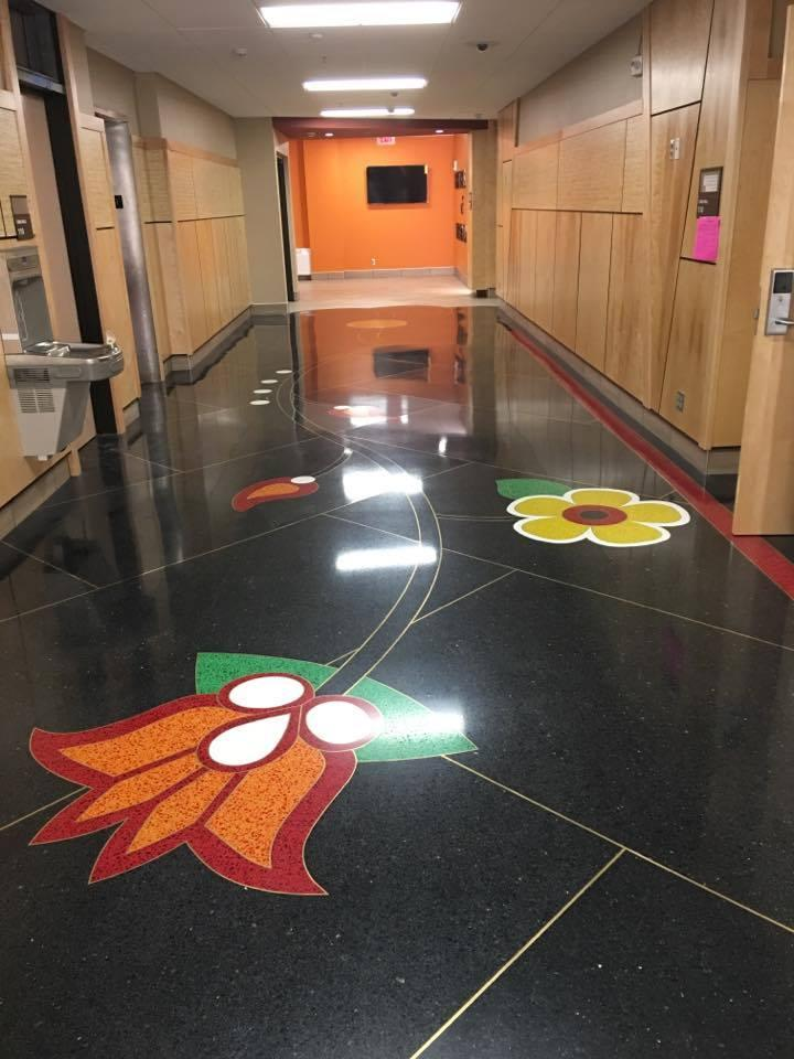 detail of floor in UMD's newly-renovated Cina Hall