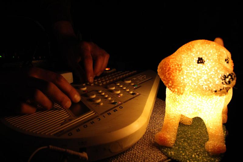Hands playing an instrument next to a glowing lamp shaped like a puppy