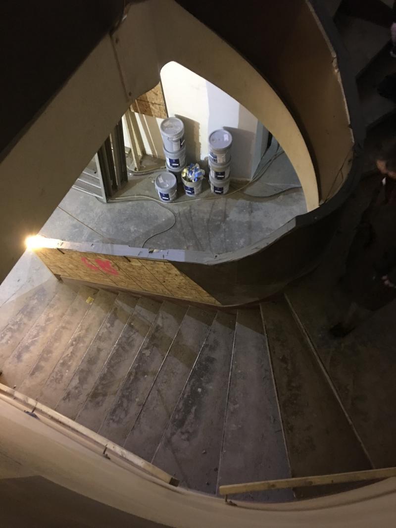 Down the circular staircase