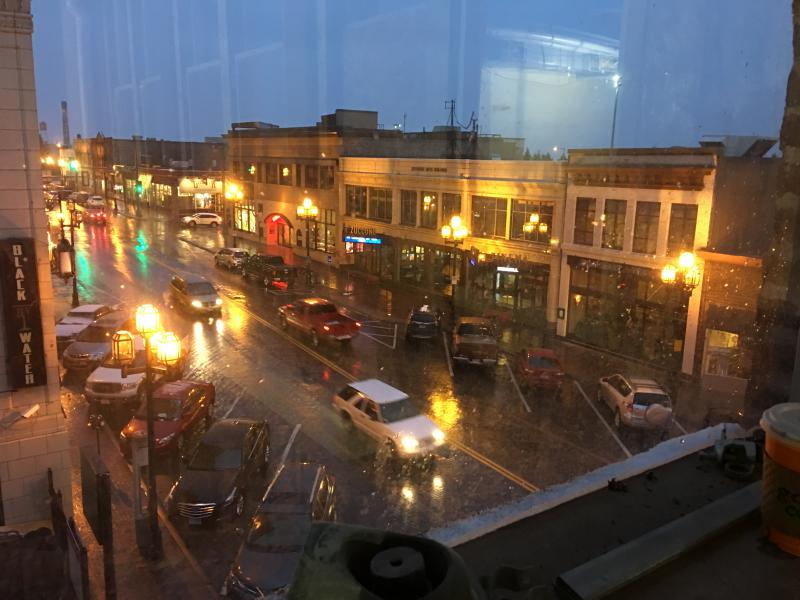 A view of Superior Street from the rehearsal space window