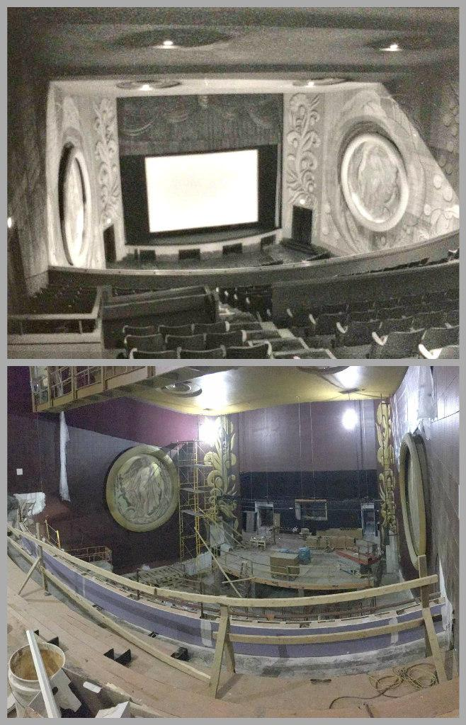 A view of the stage from the balcony, then and now