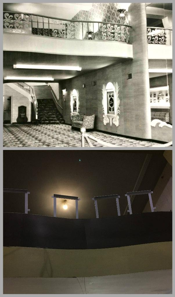 The lobby of the movie theater when you entered the NorShor - then and now