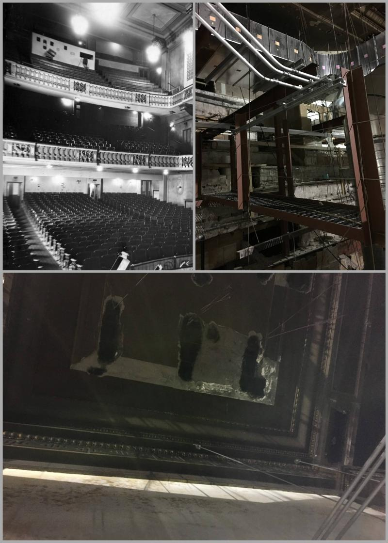 The balcony of the original Orpheum Theater, then and now. Despite being sacrificed for infrastructure, the contracter left many original features out of appreciation for the history