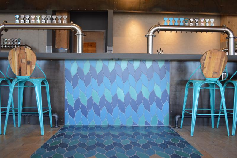 Waterfall tile at new Bent Paddle Taproom