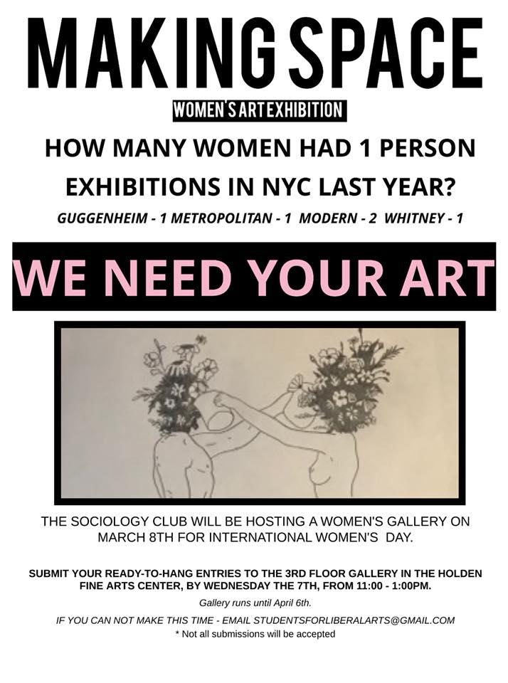 Making Space Women's Art Exhibition: March 8 - April 6 at the Holden Fine Arts Center at UWS