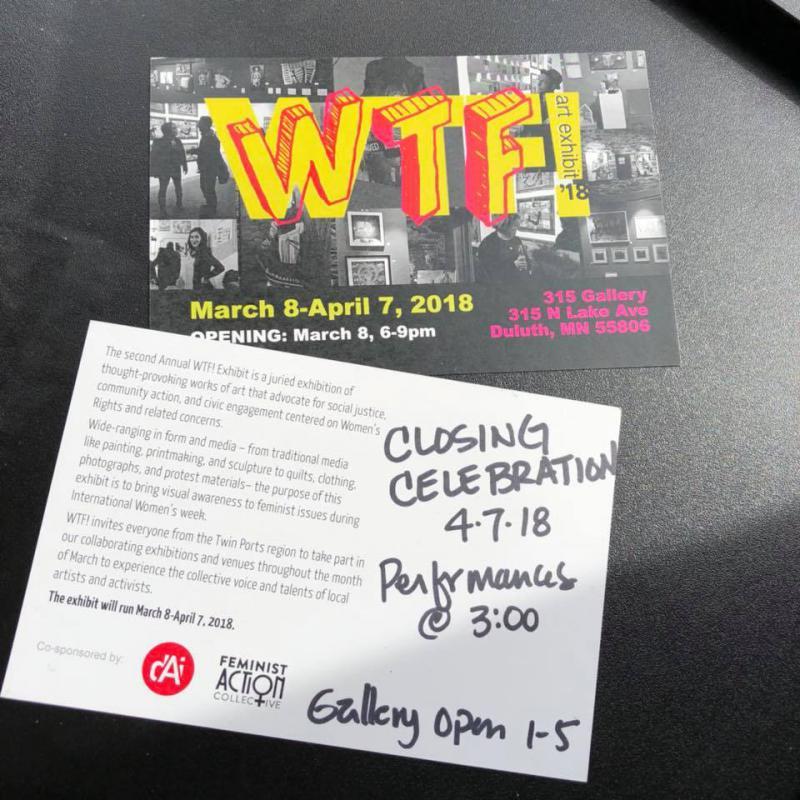WTF! Closing Celebration, Saturday April 7 at 1 PM at 315 Gallery