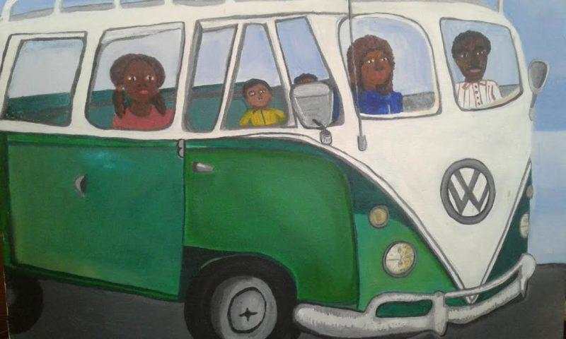 Painting by Cherie Hamilton of kids in a green V W bus,