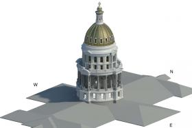 A rendering of the Capitol dome exterior restoration
