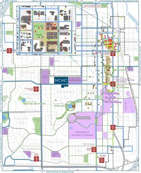 Greeley's Creative District. Lavender areas represent UNC. Sage - parks. Tan areas - Historic District.