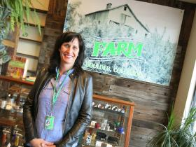 Alison Ledden, marketing director for The Farm, a recreational marijuana store in Boulder, Colo., says the store's warm, cozy aesthetic is meant to evoke bucolic farm life and organic eating.